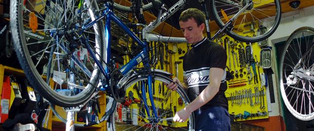 Busy bicycle repair shop