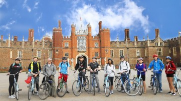 cycling in front of Hampton Court