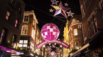 See Carnaby Street's famous light displays on our Christmas bike tour